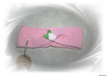 Baby-Haarband/-Stirnband in rosa mit Häkelapplikation