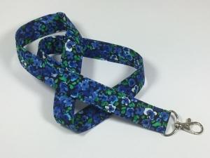 Langes Schlüsselband in royalblau mit Blumen,Schlüsselanhänger,Schlüssel, - Handarbeit kaufen