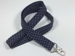 Langes Schlüsselband in dunkelblau mit kleinen weißen Punkten,Schlüsselanhänger - Handarbeit kaufen