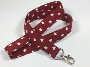 Schlüsselband, lang, in dunkelrot mit weißen Sternen,Schlüsselanhänger,Schlüssel, - Handarbeit kaufen