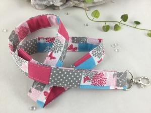 Schlüsselband-Patchwork-lang-pink-weiß-rosa-türkis-taupe-Karabiner- - Handarbeit kaufen