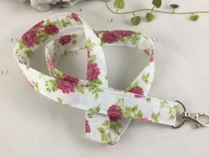 Schlüsselband-natur-pink-Blumen-lang-Karabiner- - Handarbeit kaufen