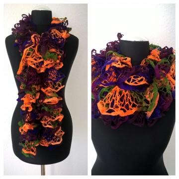 Schal handgestrickt mit Rüschen Wolle in den Farben Orange-Grün-Lila, Länge 160 cm