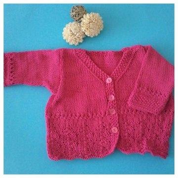 Baby Strickjacke-- Gr.62-68--Handgestrickt in der Farbe Pink mit angenehmer weicher und leichter Baumwolle im Ajourmuster