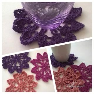 Häkeldeckchen  Set - 6 tlg. -  Gehäkelte Untersetzer - Baumwolle - Farbe Lavendel, Lila und Altrosa