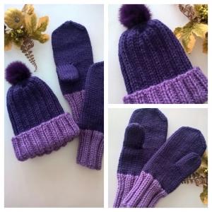 Mütze & Fausthandschuhe-Winter Set- 100 % Wolle - Farbe Lila/Flieder - Handarbeit kaufen