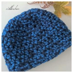 Häkelmütze für den Winter--hell/dunkelblau--Unisex
