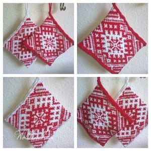 Topflappen--Handgestrickt--Doppellagig--100% Baumwolle--Rot/Weiss