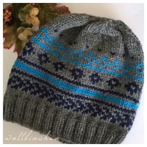 Mütze--100% Wolle--Grau/Blau/Türkis--Handgestrickt