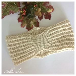 Stirnband--Wolle/Alpaka--Natur--Handgestrickt