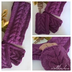 Winterset-Stirnband und Pulswärmer--100% Wolle - Handarbeit kaufen