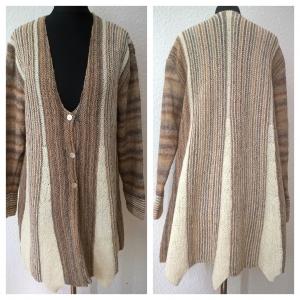 Jacke--Gr.: 42/44--Natur/Beige Farbverlauf--Wolle - Handarbeit kaufen