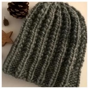 Dicke Wintermütze--100% Wolle--Unisex--Grau - Handarbeit kaufen