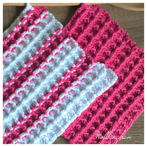 Dicke Topflappen--Waffelmuster--20cmx20cm--100 % Baumwolle--Weiß und Pink - Handarbeit kaufen