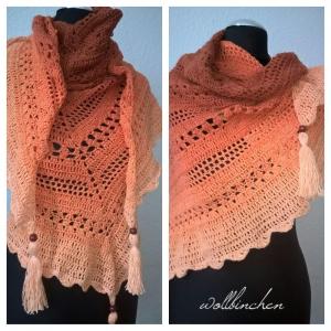 Gehäkeltes Tuch mit Quasten-- Baumwolle--Farbverlauf Braun - Apricot-- - Handarbeit kaufen