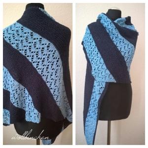 Schultertuch--Schal--Gestrickt--Baumwolle/Leinen/Viskose--Marine/Hellblau - Handarbeit kaufen