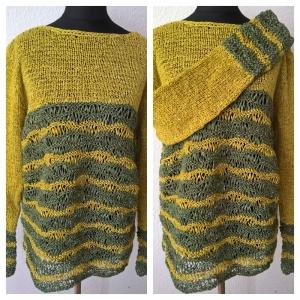 Leichter Sommer Pullover -- Gr.: M-- Bändchengarn -- Hellgrün-Oliv - Handarbeit kaufen