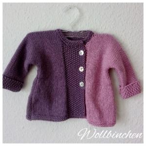 Baby Jacke--Gr:: 62/68--Handgestrickt--Wolle/Baumwolle--Farben Flieder/Lavendel
