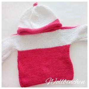 Baby Set--Pullover & Mütze--Gr.: 68-74--Baumwolle--Pink/Weiß