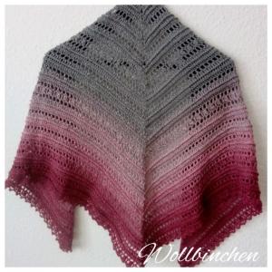 Tuch--Gehäkelt--Baumwolle--Traube/Altrosa/Grau--145 cm x 65 cm - Handarbeit kaufen