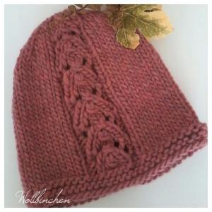 Dicke Mütze--100% Wolle--Farbton Mauve
