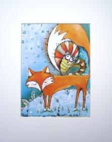 Schlaf gut Fuchs Druck im Passepartout Fuchs