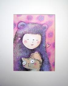 Betty mit Katze Druck im Passepartout Wohndekoration Bild Kind
