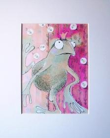 Froschkönig Giesbert Druck im Passepartout Frosch Bild Dekoration Kind Kinderzimmer Wanddeko Froschkoenig