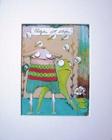 Fliegen ist schön Druck im Passepartout Frosch Hase Dekoration nikita Bild Illustration Kind