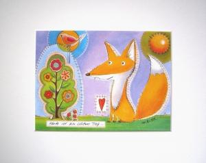 Heute ist ein schöner Tag Fuchs Druck im Passepartout Bild Illustration Kind Vogel
