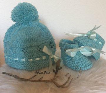 Baby Bommelmützen Set für die kleine ♡ Miss ♡ aus 100% Baby Merinowolle