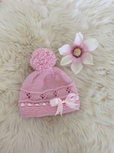 Baby Bommelmütze für die kleine ♡ Miss ♡ aus 100% Merinowolle