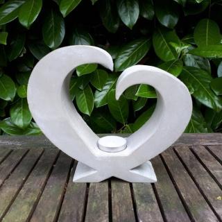 Teelichthalter offenes Herz aus Beton super Geschenk zur Hochzeit