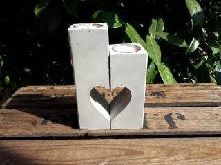 2 Teelichthalter Herzen aus Beton super Geschenk zur Hochzeit