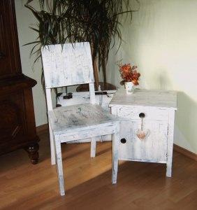 *Altes - Paar * Stuhl & kleines Schränkchen 1920 Jahre
