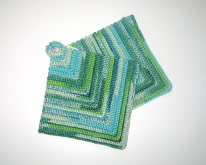 Topflappen 1Paar gehäkelt aus Baumwollgarn - Handarbeit kaufen