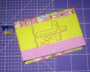 Umschlag für das Gotteslob, Unikat aus Baumwollstoffen mit Stickerei    - Handarbeit kaufen