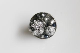 Ring, schwarz, silber, abstrakt, Resin