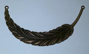 2 große Federn für Halskette - bronzefarben