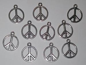 10 Peace-Zeichen silberfarben 14x16mm