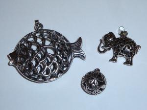 Kettenanhänger-Set (Fisch, Elefant, Kugel) antik-silberfarben
