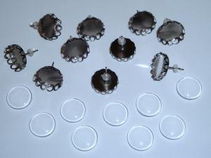 5 Paar gun-metalfarbene Ohrstecker-Rohlinge mit 12mm Glascabochons