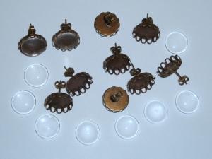 5 Paar bronzefarbene Ohrstecker-Rohlinge mit 12mm Glascabochons