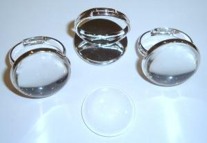 3 Ringrohlinge *nf* mit 18mm Glascabochons