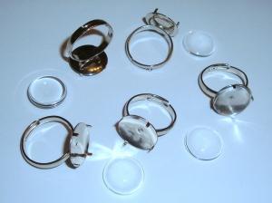 5 Ringrohlinge *nf* mit 14mm Glascabochons