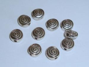 10 Metallperlen/Zwischenperle Schnecke/Spirale
