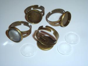 4 Ringrohlinge *nf* bronzefarben mit 14mm Glascabochon