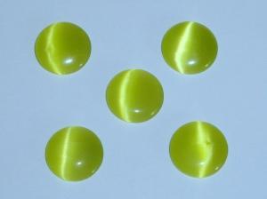 5 Cateye-Steine in grün-gelb 12mm