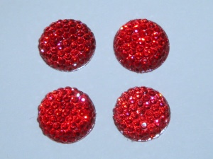4 rote Cabochons 12mm