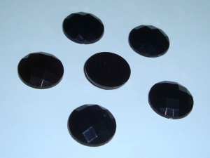 6 facettierte Cabochons, 18mm, schwarz
